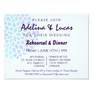 Hydrangea Blue Wedding Rehearsal Dinner Invitation