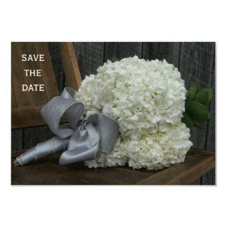 "Hydrangea Bouquet & Barnwood Wedding Save The Date 3.5"" X 5"" Invitation Card"