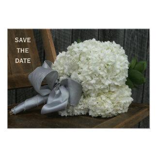 Hydrangea Bouquet & Barnwood Wedding Save The Date Personalized Invitation