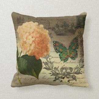 Hydrangea butterfly crown french provincial throw pillow