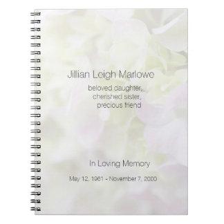 Hydrangea closeup fade memorial notebook