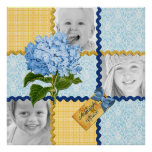 Hydrangea Custom Photo Quilt Frame Blue Yellow Poster