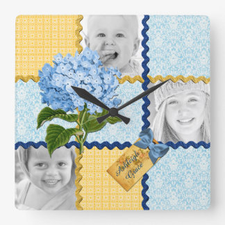 Hydrangea Custom Photo Quilt Frame Blue Yellow Square Wall Clock