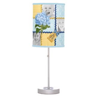 Hydrangea Custom Photo Quilt Frame Blue Yellow Table Lamps