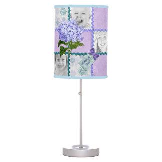 Hydrangea Custom Photo Quilt Frame Purple Teal Desk Lamp