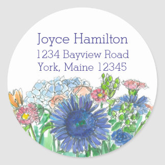 Hydrangea Daisy Rose Watercolor Flowers Address Round Sticker