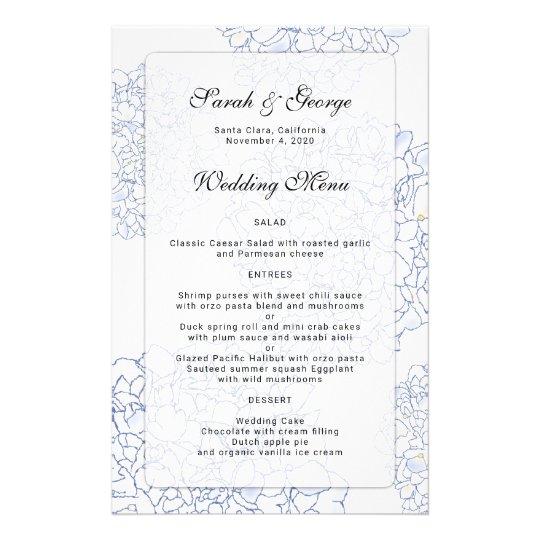 Hydrangea Floral Artwork 5x8 Custom Wedding Menu