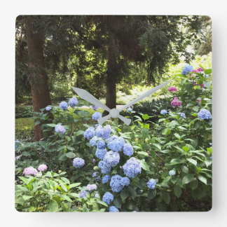 Hydrangea Floral Trees Nature Photography Square Wall Clock