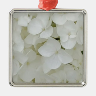 Hydrangea Flowers Floral White Elegant Blossom Metal Ornament