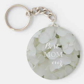 Hydrangea Flowers Floral White Elegant Blossom Mom Keychain