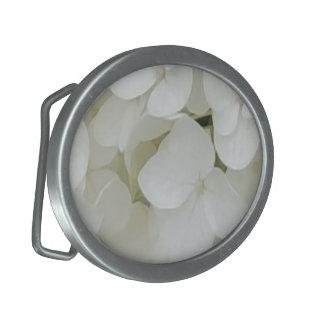 Hydrangea Flowers Floral White Elegant Blossom Oval Belt Buckle