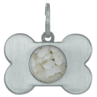 Hydrangea Flowers Floral White Elegant Blossom Pet Name Tag