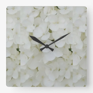 Hydrangea Flowers Floral White Elegant Blossom Square Wall Clock