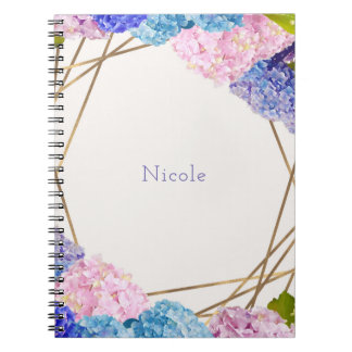 Hydrangea Flowers & Gold Spring Floral Chic Notebook