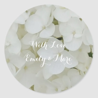 Hydrangea Flowers White Blossom Floral Bridal Chic Classic Round Sticker