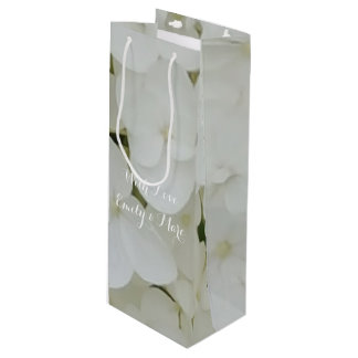 Hydrangea Flowers White Floral Romantic Bridal Wine Gift Bag