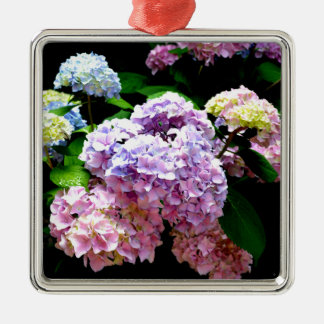 Hydrangea Gardens Silver-Colored Square Ornament