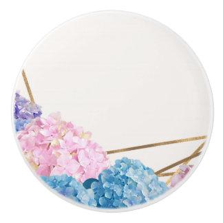 Hydrangea & Gold Elegant Floral Chic Spring Custom Ceramic Knob