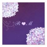 Hydrangea + Heart Plum Floral Wedding Invitations