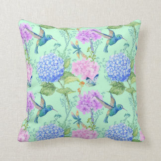 Hydrangea hummingbird lavender blue mint green throw pillow