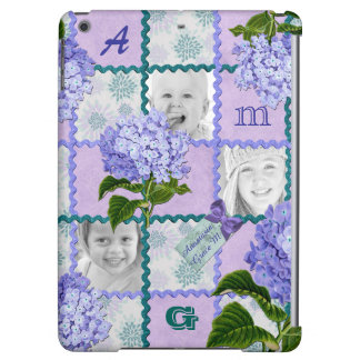 Hydrangea Instagram Photo Quilt Frame Purple Teal iPad Air Case
