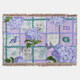 Hydrangea Instagram Photo Quilt Frame Purple Teal Throw Blanket