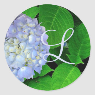 Hydrangea Leaves Monogram Sticker, Blue Moon Classic Round Sticker