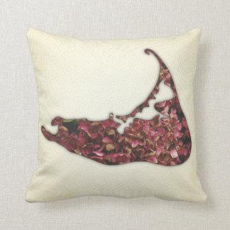 Hydrangea Map of Nantucket Island Throw Pillow