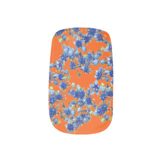 hydrangea orange and blue minx nail art