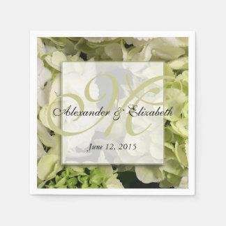 Hydrangea Personalized Monogram Wedding Paper Napkin