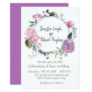 Hydrangea ultra violet flower wreath wedding card