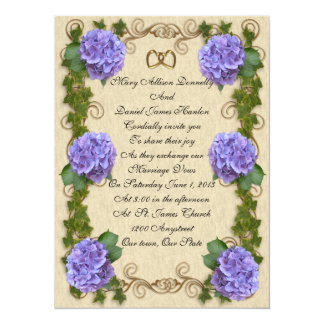 Hydrangea  wedding Invitation antique elegance