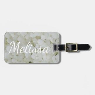 Hydrangea White Flowers Blossom Elegant Floral Luggage Tag