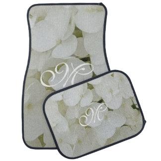 Hydrangea White Flowers Floral Custom Monogram M Car Mat