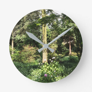 Hydrangea Wood Trees Nature Photography Round Clock
