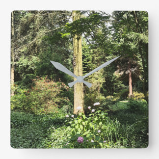 Hydrangea Wood Trees Nature Photography Square Wall Clock