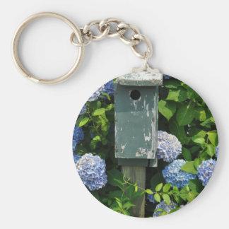 Hydrangeas and Bird Houses Basic Round Button Keychain