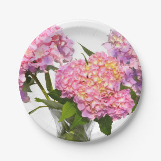 Hydrangeas and crystal 7 inch paper plate