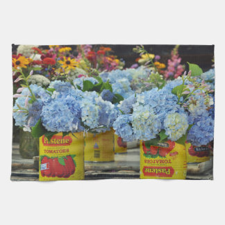 Hydrangeas and Fresh Flowers in Tomato Cans Kitchen Towel