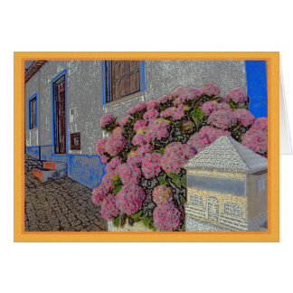 Hydrangeas and geraniums on cobblestone street card