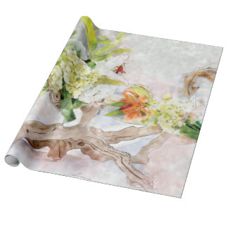 Hydrangeas Bella Watercolor Linen Wrapping Paper