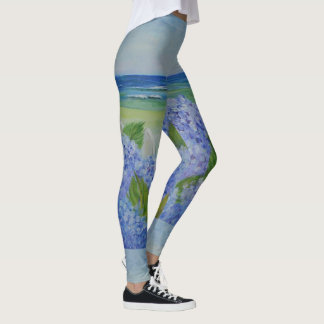 Hydrangeas By The Sea Leggings
