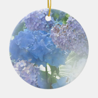 Hydrangeas Glow Round Ceramic Ornament
