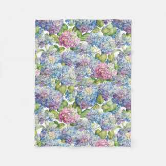 Hydrangeas in Bloom Fleece Blanket