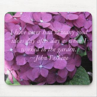 Hydrangeas Mousepad w/ Gardening quote