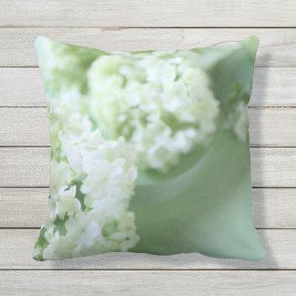 Hydrangeas on green throw pillow