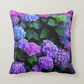 Hydrangeas Watercolor Purple Throw Pillow