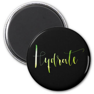 Hydrate Green Leaf Black Planner Home Office 2 Inch Round Magnet