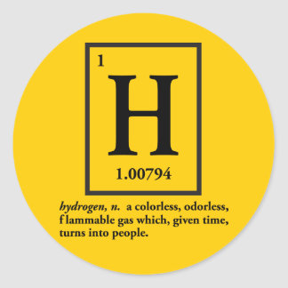hydrogen - a gas which turns into people sticker