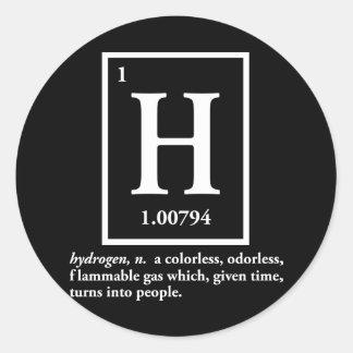 hydrogène - un gaz qui se transforme en personnes autocollants ronds
